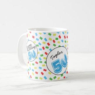 Personalized 50th Birthday Mug Festive Colorful