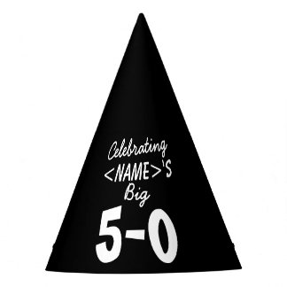 Personalized 50th Birthday Party Hat Black White