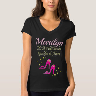 PERSONALIZED 50TH BIRTHDAY PINK SHOE QUEEN TEE