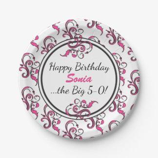 Personalized 50th Birthday Pink Swirls Paper Plate