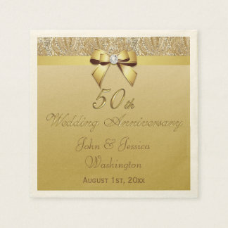 Personalized 50th Gold Wedding Anniversary Paper Napkins