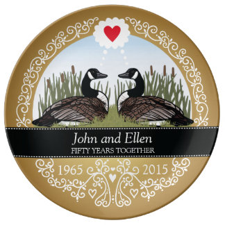 Personalized 50th Wedding Anniversary, Geese Plate