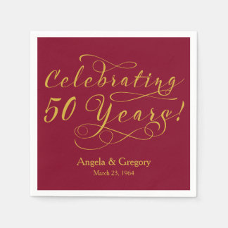 Personalized 50th Wedding Anniversary Gold Wine Disposable Serviettes