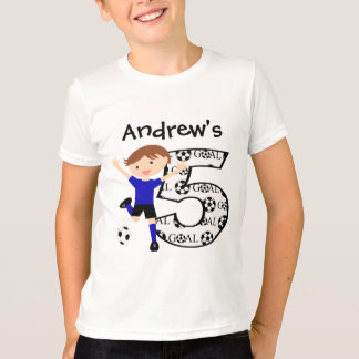 Personalized  5th Birthday Soccer Blue and Black T-Shirt