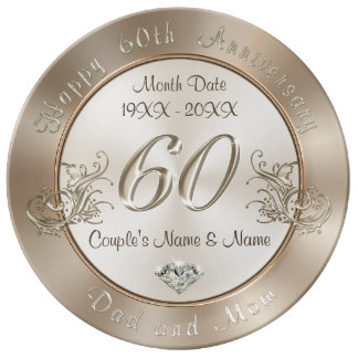 Personalized 60th Anniversary Gifts for Parents Porcelain Plate