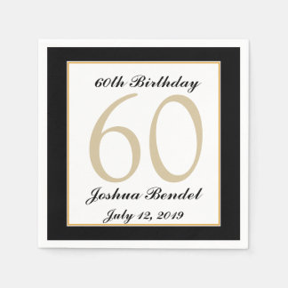 Personalized 60th Birthday Party Napkins Disposable Serviette