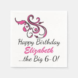 Personalized 60th Birthday Pink Swirls Paper Serviettes
