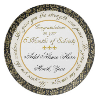 Personalized 6 Months Sobriety Display Plate