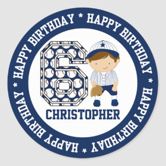 Personalized 6th Birthday Baseball Catcher Blue Classic Round Sticker