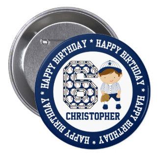 Personalized 6th Birthday Baseball Catcher BW Pin