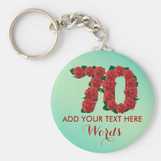 Personalized 70th birthday 70 anniversary Keychain