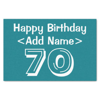 Personalized 70th Birthday Themed Tissue Paper