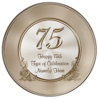Personalized 75th Birthday Ideas for Mom or Wife Porcelain Plates
