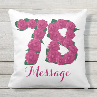 Personalized 75th birthday Outdoor Throw Pillow