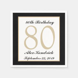 Personalized 80th Birthday Party Napkins Paper Napkin
