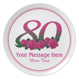 Personalized 80th customized text 80 flowers plate