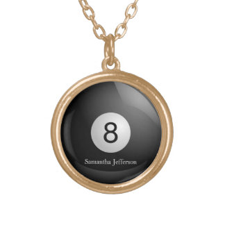 Personalized 8 Ball Billiards Pool Pendant Necklac