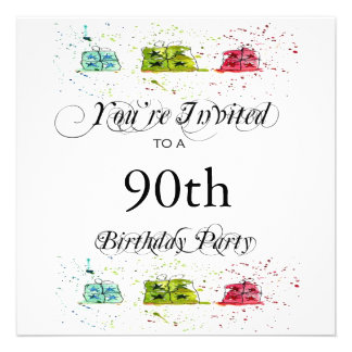 Personalized 90th Birthday Party Invitations