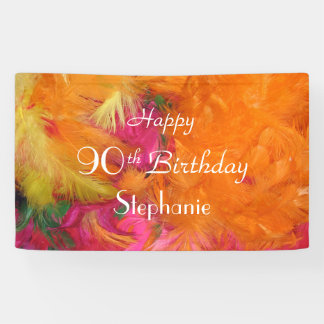 Personalized 90th Birthday Sign Orange Feathers