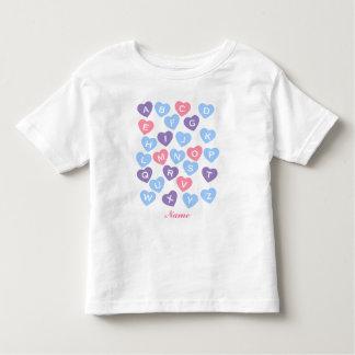 Personalized ABCs Shirt, Alphabet Shirt, Hearts Toddler T-Shirt