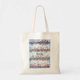 Personalized abstract art music sheet tote bag
