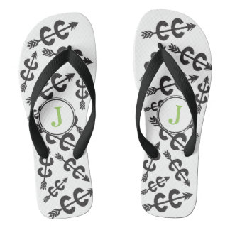 Personalized Abstract Cross Country Arrow Monogram Thongs