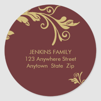 PERSONALIZED ADDRESS LABEL :: bold vine 2B Round Sticker