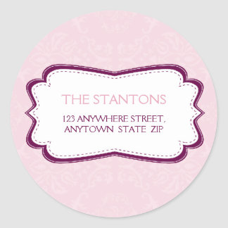 PERSONALIZED ADDRESS LABEL :: divinely damask 8B Round Sticker
