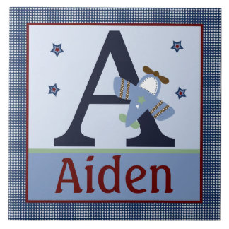 Personalized Adorable Airplane Letter Name Tile