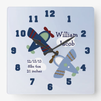 Personalized Adorable Airplanes Nursery Clock