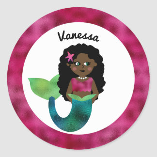 Personalized African American Mermaid Faux Foil Classic Round Sticker