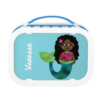 Personalized African American Mermaid Faux Foil Lunch Box