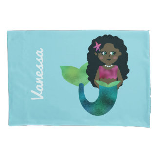 Personalized African American Mermaid Faux Foil Pillowcase