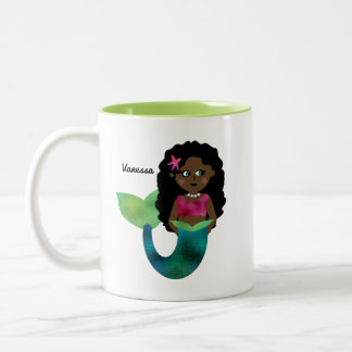 Personalized African American Mermaid Faux Foil Two-Tone Coffee Mug