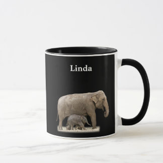Personalized African Elephant On Black Mug