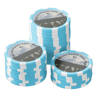 Personalized Alaskan Snow Covered Mountain Poker Chips