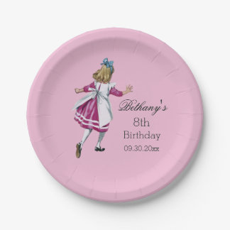 Personalized Alice in Wonderland Birthday Party Paper Plate