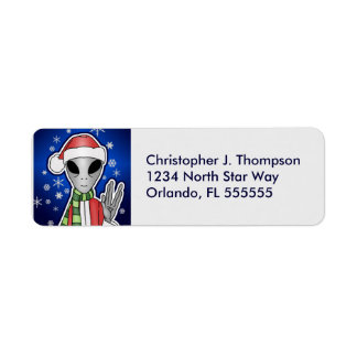 Personalized Alien Santa Return Address Labels