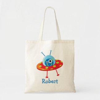 Personalized Alien Spaceship Tote Bag