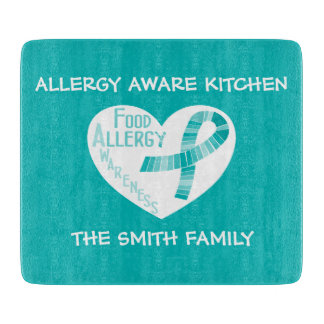 Personalized Allergy Aware Teal Ribbon Heart Teal Cutting Boards
