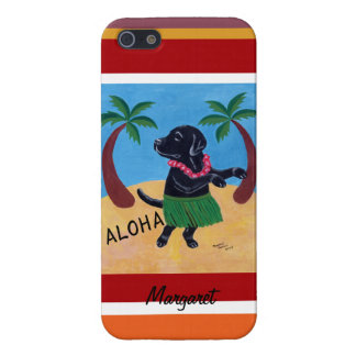 Personalized Aloha Black Labrador Painting Stripe Case For The iPhone 5