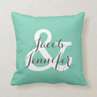 Personalized Ampersand Pillow-Teal Cushion