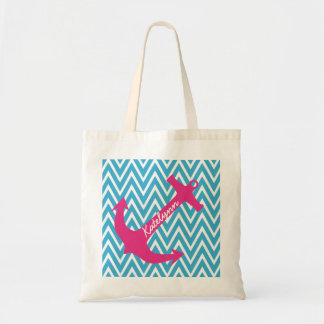 Personalized Anchor & Turquoise Chevron Tote Bag Tote Bags