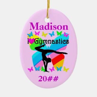 PERSONALIZED AND DATED GYMNASTICS ORNAMENT