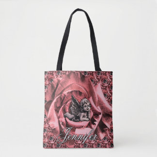 Personalized Angel Cherub with Roses Tote Bag