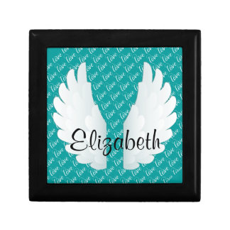 Personalized Angel Wings Small Square Gift Box