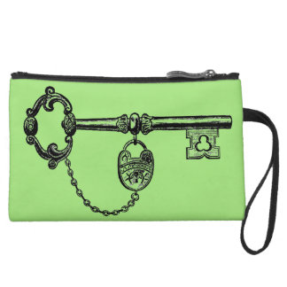 Personalized Antique Key, Sage Wristlet