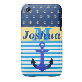 PERSONALIZED (ANY NAME) iPhone 3G/3GS Nautical Cas iPhone 3 Case-Mate Case