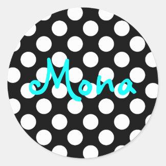 Personalized Aqua Black and White Polka Dot Round Sticker