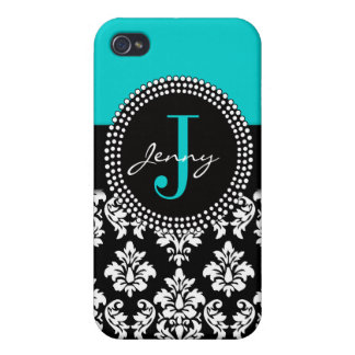 Personalized Aqua Blue Black Damask Pattern Cover For iPhone 4